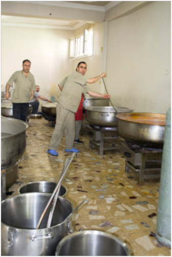 This is the kitchen where 10,000 meals are prepared twice a day