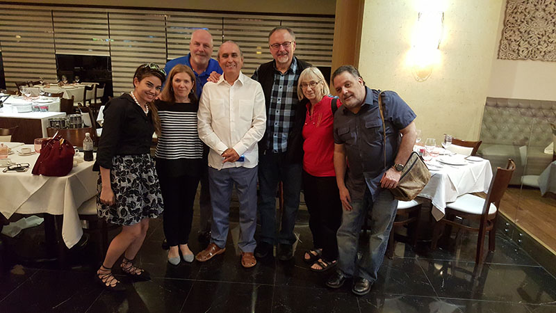 From left: Hipolito's assistant Stephanie, MFM Directors MaryAnne and Tom Hardiman, Hipolito Pena, Missions Director Jorge and Anna Marie Parrott, and Andy Surace, MFM Pastor in New Jersey.