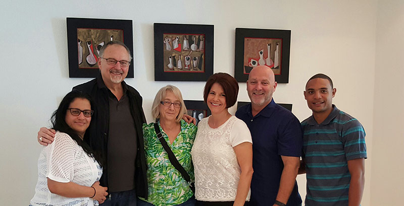From left: Sandra Quesada, Jorge and Anna Marie Parrott, Renee and Jim Larson and Philip, their assistant.